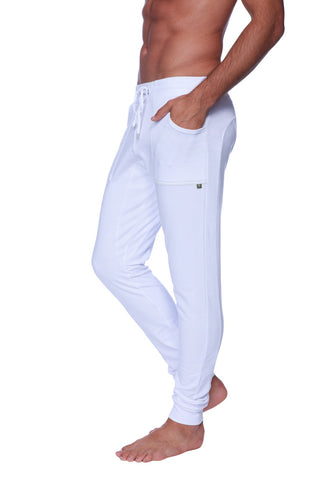 Long Cuffed Jogger Yoga Pants (White) Long Joggers 4-rth