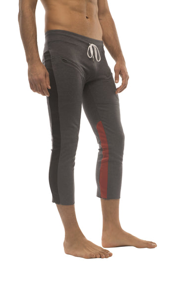 Mens 4/5 Zipper Pocket Capri Yoga Pants (Charcoal w/Black & Red) Capri Pants 4-rth