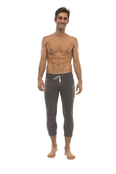 Mens 4/5 Zipper Pocket Capri Yoga Pants (Charcoal w/Black & Royal) Capri Pants 4-rth
