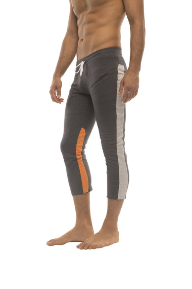 Mens 4/5 Zipper Pocket Capri Yoga Pants (Charcoal w/Grey & Orange) Capri Pants 4-rth