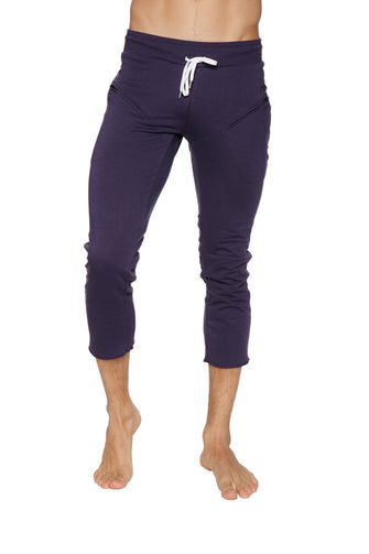 Mens 4/5 Zipper Pocket Capri Yoga Pants (Eggplant) Capri Pants 4-rth