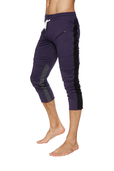 Mens 4/5 Zipper Pocket Capri Yoga Pants (Eggplant w/Black & Charcoal) Capri Pants 4-rth