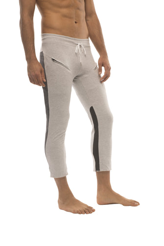 Mens 4/5 Zipper Pocket Capri Yoga Pants (GREY w/Charcoal & Black) Capri Pants 4-rth