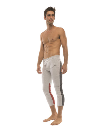 Mens 4/5 Zipper Pocket Capri Yoga Pants (GREY w/Charcoal & Red) Capri Pants 4-rth
