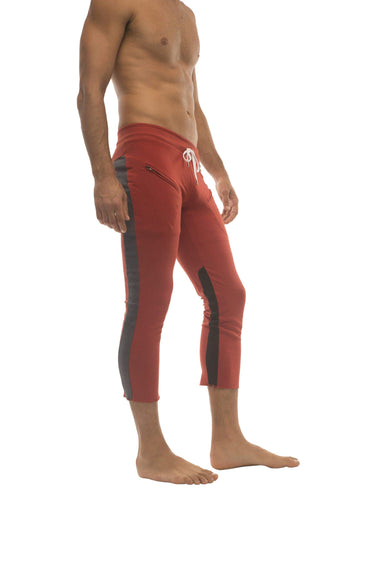 Mens 4/5 Zipper Pocket Capri Yoga Pants (RED w/Charcoal & Black) Capri Pants 4-rth