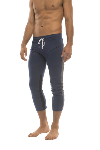 Mens 4/5 Zipper Pocket Capri Yoga Pants (Royal w/Charcoal & Black) Capri Pants 4-rth