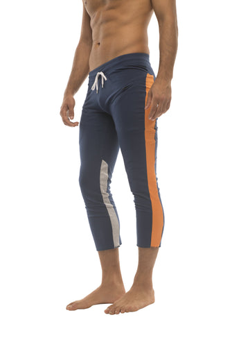 Mens 4/5 Zipper Pocket Capri Yoga Pants (Royal w/Orange & GREY) Capri Pants 4-rth
