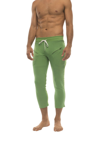 Mens 4/5 Zipper Pocket Capri Yoga Pants (Solid Bamboo Green) Capri Pants 4-rth
