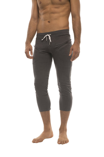 Mens 4/5 Zipper Pocket Capri Yoga Pants (Solid Charcoal) Capri Pants 4-rth