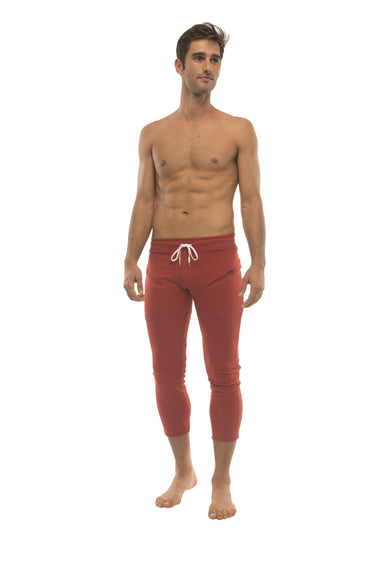 Mens 4/5 Zipper Pocket Capri Yoga Pants (Solid Cinnabar Red) Capri Pants 4-rth