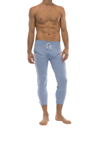 Mens 4/5 Zipper Pocket Capri Yoga Pants (Solid ICE Blue) Capri Pants 4-rth