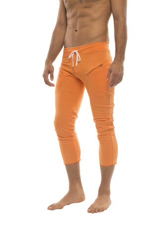 Mens 4/5 Zipper Pocket Capri Yoga Pants (Solid Orange) Capri Pants 4-rth