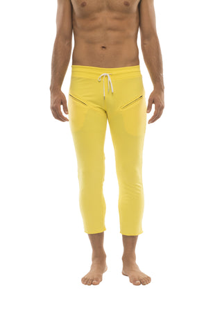 Mens 4/5 Zipper Pocket Capri Yoga Pants (Solid Yellow) Capri Pants 4-rth