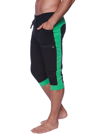 Mens Cuffed Yoga Pants (Black w/Green) Cuffed Pants 4-rth