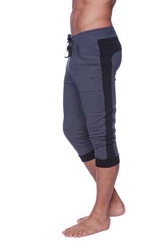 Mens Cuffed Yoga Pants (Charcoal w/Black) Cuffed Pants 4-rth