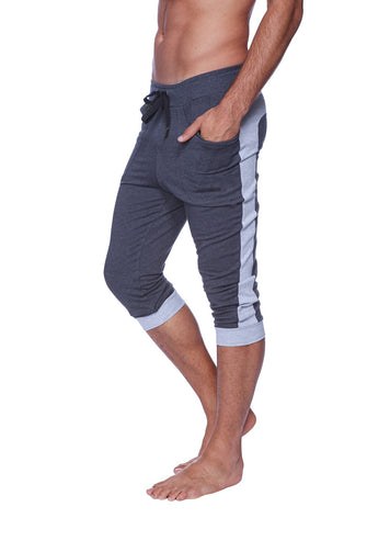 Mens Cuffed Yoga Pants (Charcoal w/Heather Grey) Cuffed Pants 4-rth