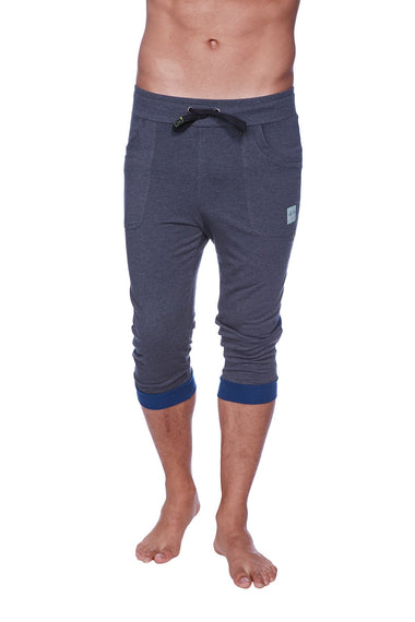 Mens Cuffed Yoga Pants (Charcoal w/Royal Blue) Cuffed Pants 4-rth