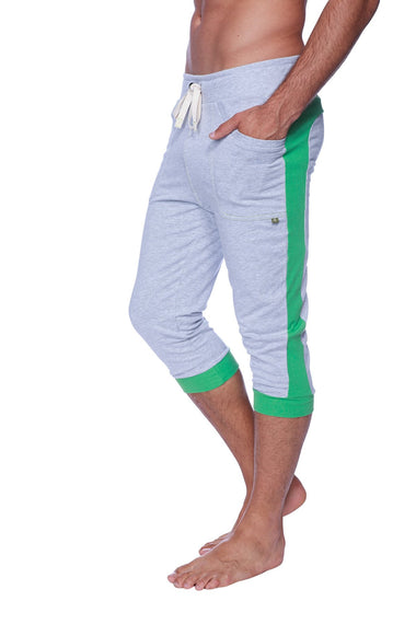 Mens Cuffed Yoga Pants (Heather Grey w/GREEN) Cuffed Pants 4-rth
