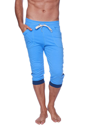 Mens Cuffed Yoga Pants (Ice Blue w/Royal Blue) Cuffed Pants 4-rth