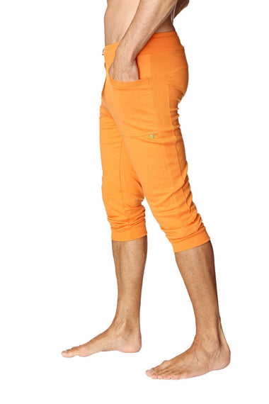 Mens Cuffed Yoga Pants (Solid Sun Orange) Cuffed Pants 4-rth