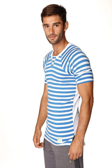 Nautical Raglan Resort Henley Tee (Blue & White Stripe) Mens Tops 4-rth