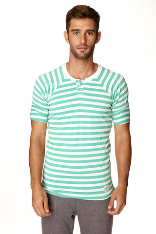Nautical Raglan Resort Henley Tee (Green & White Stripe) Mens Tops 4-rth