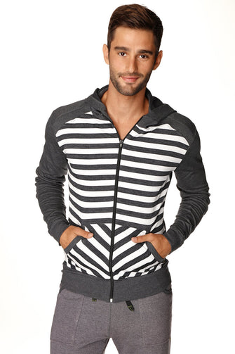 **Original Limited Edition** Crossover Fleece Hoodie (Charcoal Stripe) Mens Hoodies 4-rth