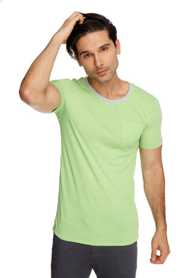 Perfect Pocket Crew-Neck Tee (Lime Slub) Mens Tops 4-rth