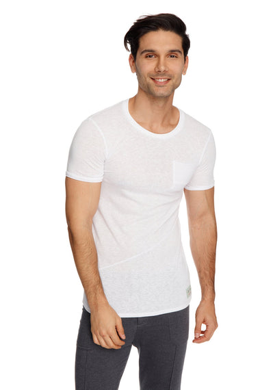 Perfect Pocket Crew-Neck Tee (White Slub) Mens Tops 4-rth
