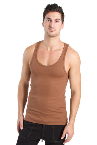 Racer-back Yoga Tank (Chocolate) Mens Tanks 4-rth