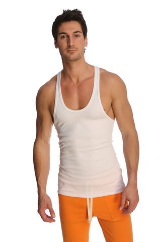 Racer-back Yoga Tank (White) Mens Tanks 4-rth