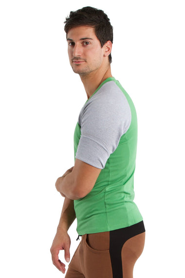 Raglan Virtual Crew Neck (Bamboo Green w/Grey) Mens Tops 4-rth