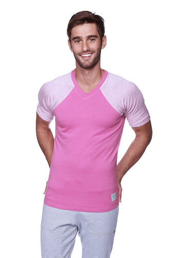 Raglan Virtual Crew Neck (Berry w/ Pink & Grey Stripe) Mens Tops 4-rth