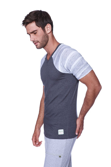 Raglan Virtual Crew Neck (Charcoal w/ Grey & White Stripe) Mens Tops 4-rth