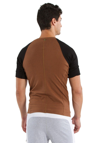 Raglan Virtual Crew Neck (Chocolate w/Black) Mens Tops 4-rth