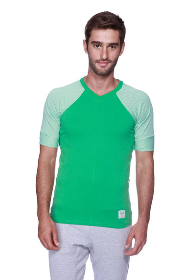 Raglan Virtual Crew Neck (Green w/ Green & White Stripe) Mens Tops 4-rth