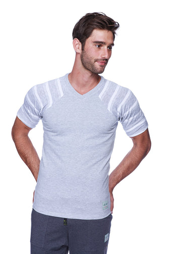 Raglan Virtual Crew Neck (Grey w/ Grey & White Stripe) Mens Tops 4-rth