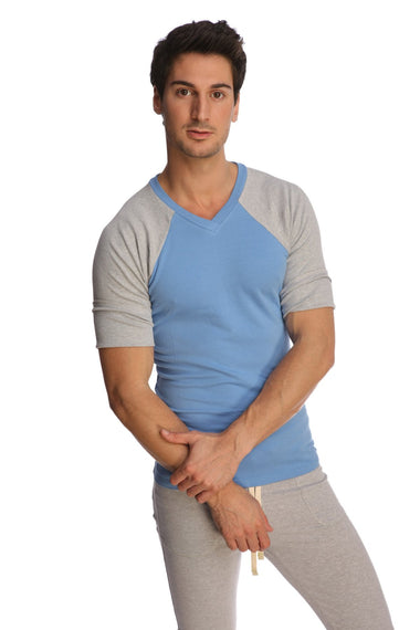 Raglan Virtual Crew Neck (Ice Blue) Mens Tops 4-rth