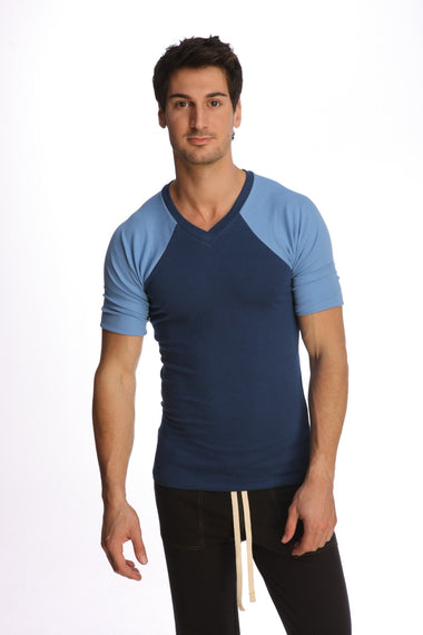 Raglan Virtual Crew Neck (Royal Blue) Mens Tops 4-rth
