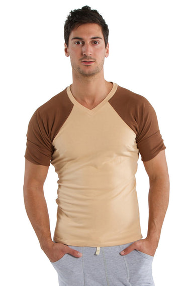 Raglan Virtual Crew Neck (Sand w/Chocolate) Mens Tops 4-rth