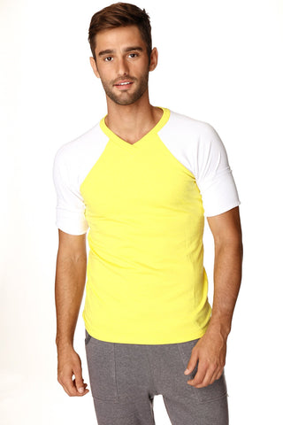 Raglan Virtual Crew Neck (Tropic Yellow w/White) Mens Tops 4-rth