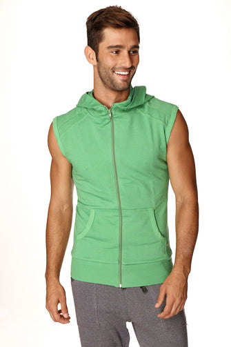 Sleeveless Yoga Hoodie (Bamboo Green) Mens Hoodies 4-rth