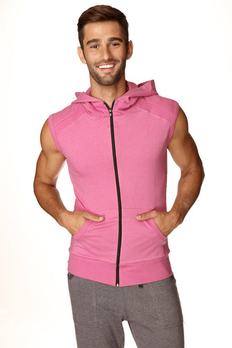 Sleeveless Yoga Hoodie (Berry) Mens Hoodies 4-rth