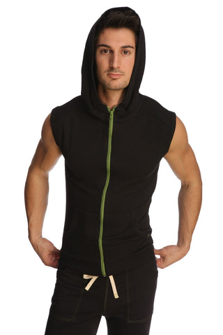 Sleeveless Yoga Hoodie (Black) Mens Hoodies 4-rth