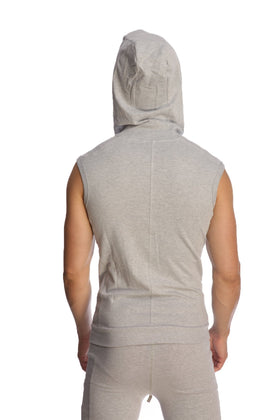 Sleeveless Yoga Hoodie (Heather Grey) Mens Hoodies 4-rth
