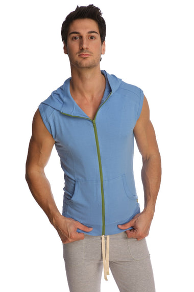 Sleeveless Yoga Hoodie (Ice Blue) Mens Hoodies 4-rth