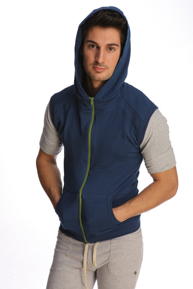 Sleeveless Yoga Hoodie (Royal Blue) Mens Hoodies 4-rth