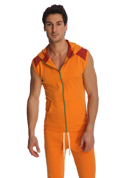Sleeveless Yoga Hoodie (Sun Orange) Mens Hoodies 4-rth