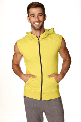 Sleeveless Yoga Hoodie (Tropic Yellow) Mens Hoodies 4-rth