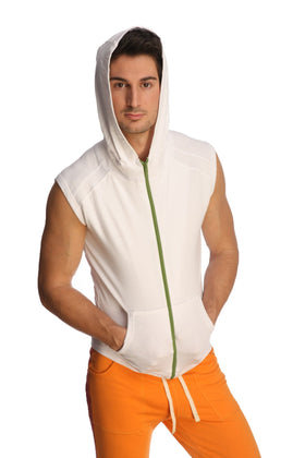 Sleeveless Yoga Hoodie (White) Mens Hoodies 4-rth